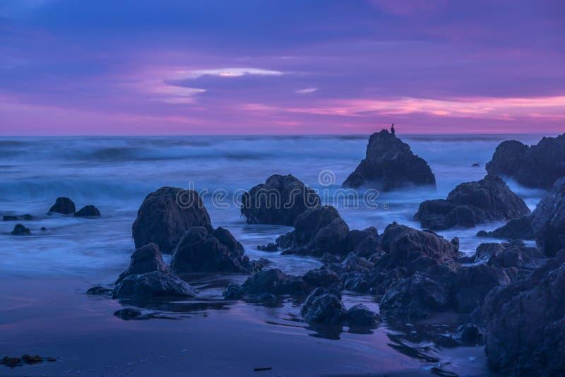 San Simeon Beach Sunset Cool Sunset stockbild