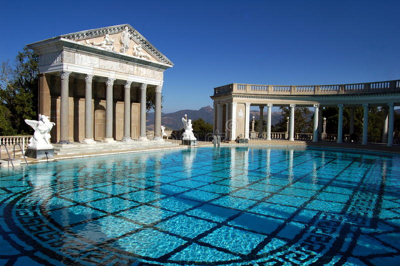 San Simeon, CA: Neptune Pool at Hearst Castle stock photography