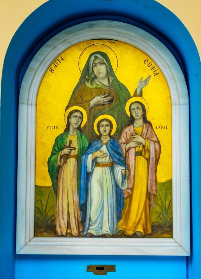 San Sophia Church Acropolis Athens Greece dell'icona dei san fotografia stock