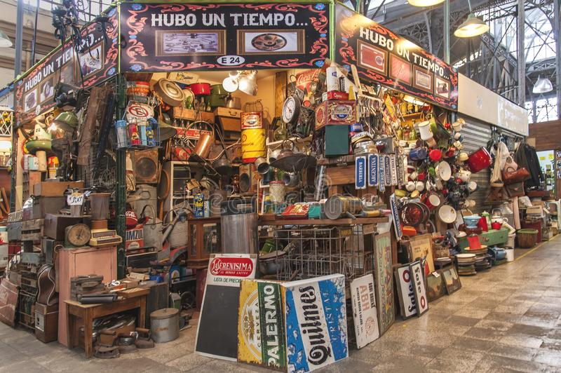 San Telmo market in Buenos Aires. Characteristic shop in San Telmo Market in Buenos Aires, Argentina on November 19, 2017. In the city is a popular tourist stock photo