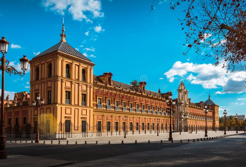 San Telmo`s Palace in the downtown of Seville, Spain stock photography