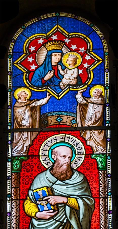 San Thadeus Jude Mary Stained Glass Baptistery Pisa Italia fotografie stock