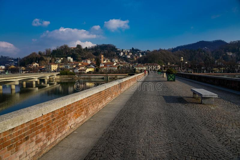 San torinese Mauro de brug op de rivier po royalty-vrije stock afbeeldingen