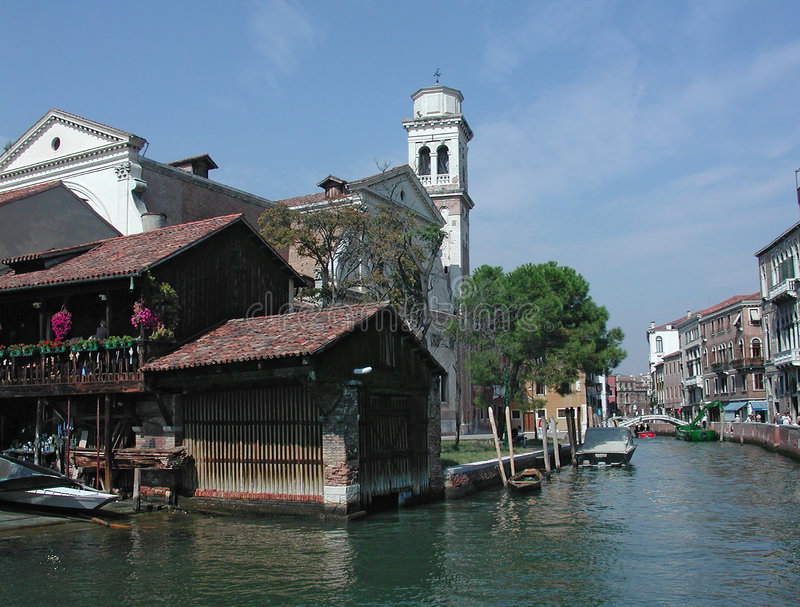 San Trovaso canal, Venice, Italy. The last famous and traditional gondolas factory in Venice, Italy stock photo