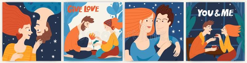 San Valentino: cartolina o carta con una coppia di innamorati abbracci immagine stock libera da diritti