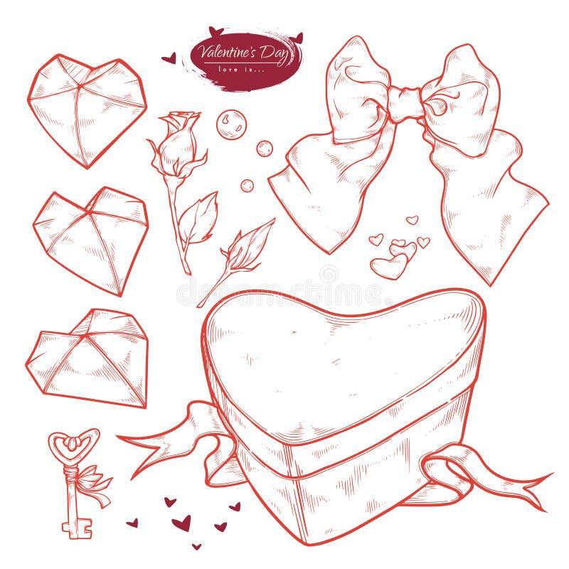 San Valentino dell'insieme di vettore Regalo disegnato a mano sotto forma di un cuore, arco, chiave, cuori, boccioli di rosa, per illustrazione vettoriale