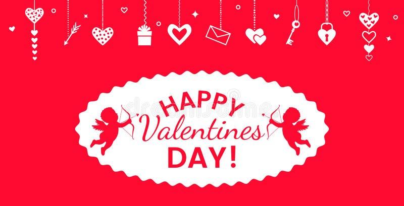 San Valentino di Valentin2St - cartolina d'auguri o insegna Illustrazione di vettore isolata su un fondo rosso royalty illustrazione gratis