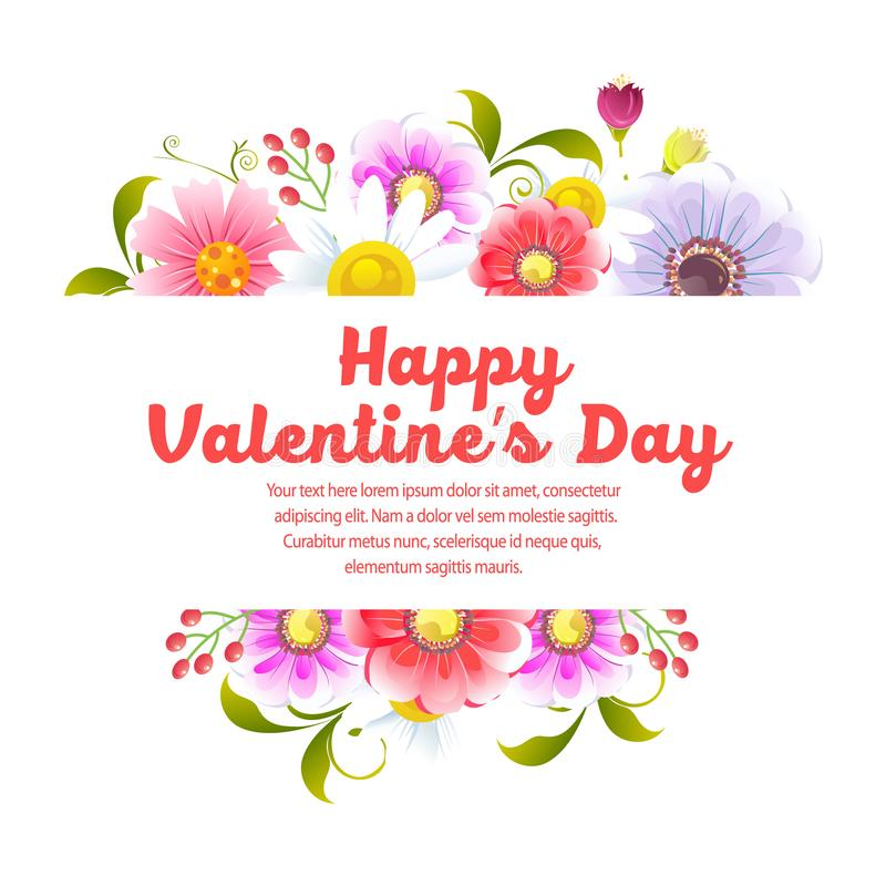 San Valentino felice del fiore illustrazione di stock