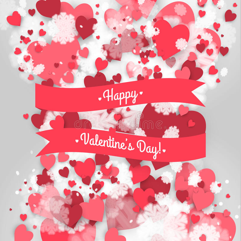 San Valentino felice della st! Fondo astratto con il nastro e fiocchi di neve e cuori di volo al giorno del biglietto di S. Valen illustrazione vettoriale