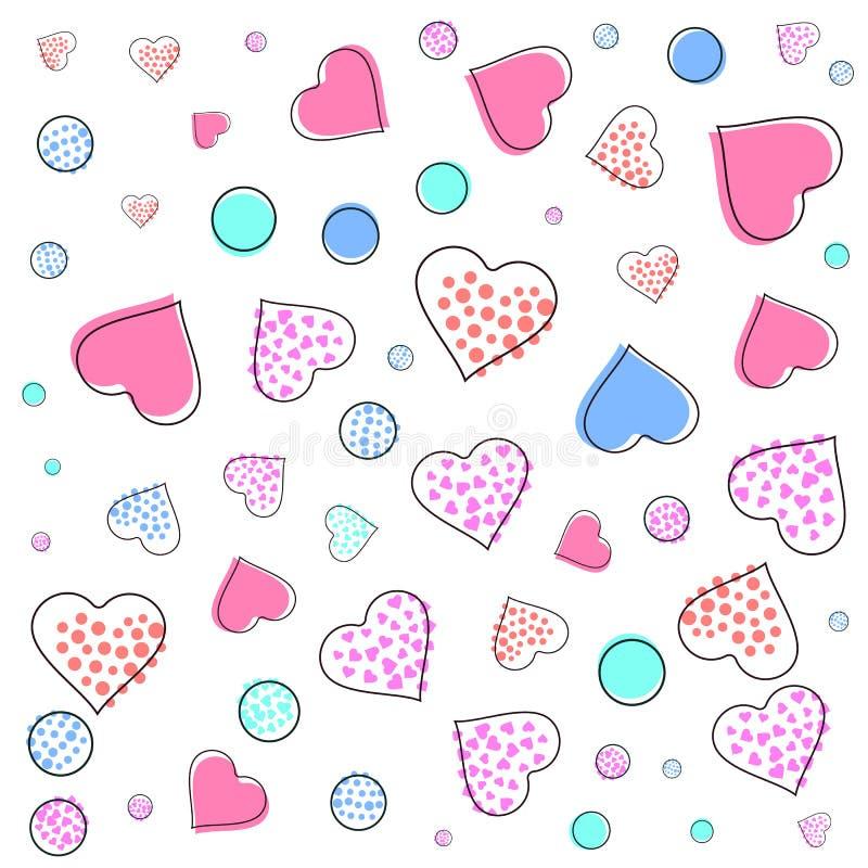 San Valentino, modello di Memphis di nozze immagine 80s, 90s con i cuori, frecce, le ali del cupido e desi geometrico degli eleme royalty illustrazione gratis