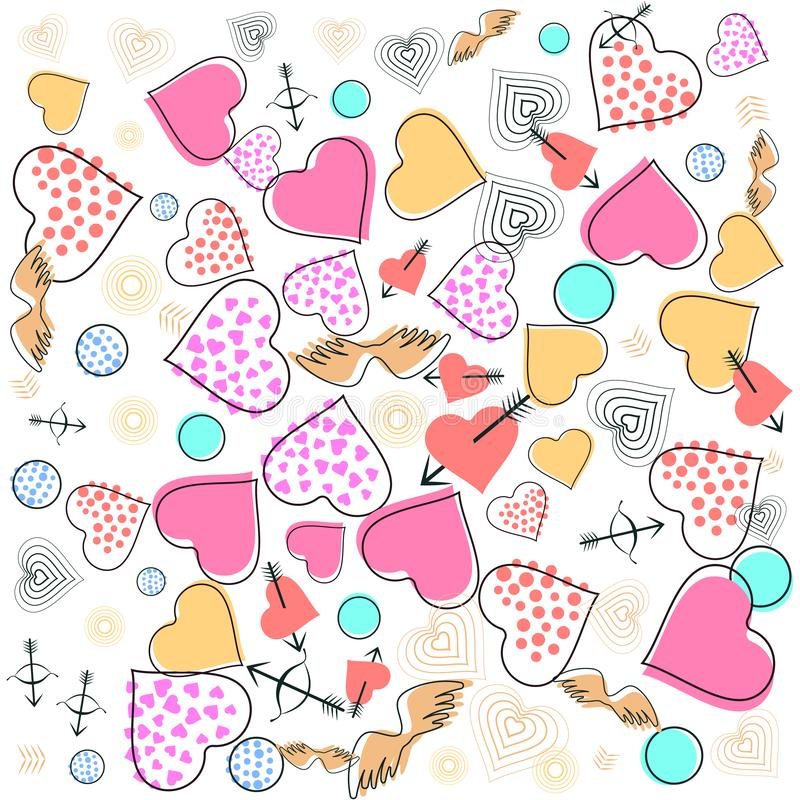 San Valentino, modello di Memphis di nozze immagine 80s, 90s con i cuori, frecce, le ali del cupido e desi geometrico degli eleme illustrazione di stock