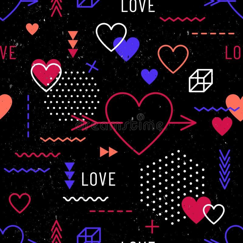 San Valentino: modello perfetto con cuori e simboli geometrici negli anni ottanta, novanta stile memphis sullo sfondo nero royalty illustrazione gratis