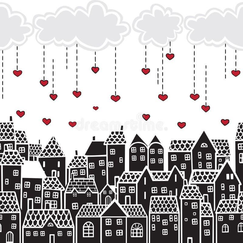 San Valentino nella città illustrazione vettoriale