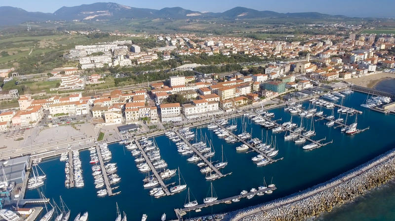 San Vincenzo, Italy. City as seen from the air.  royalty free stock photos