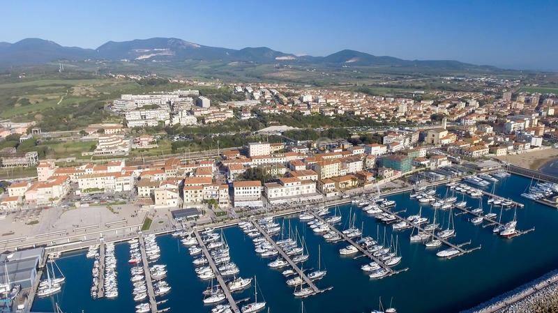 San Vincenzo, Italy. City as seen from the air.  stock image