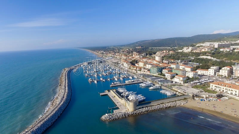 San Vincenzo, Italy. City as seen from the air.  stock images