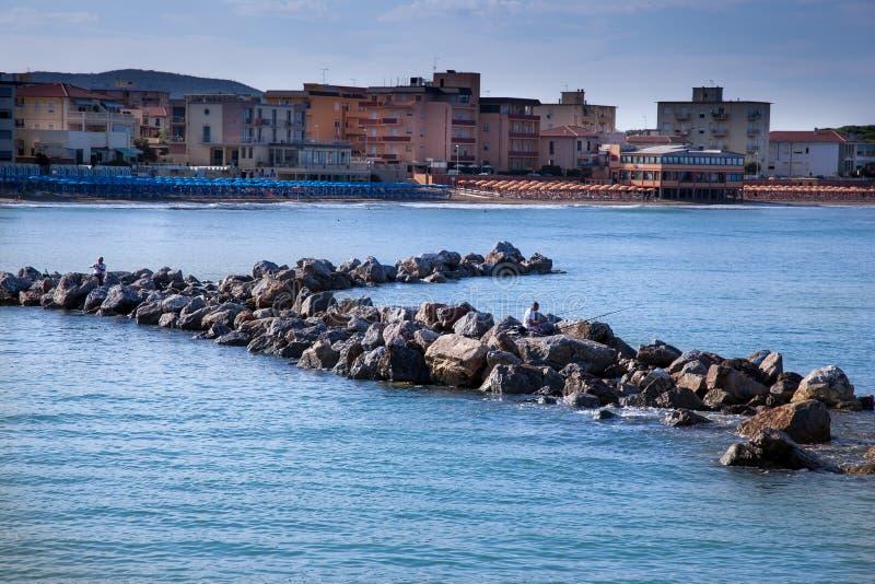 San Vincenzo, Livorno, Tuscany, Italy - Entrance to the marina o stock photo