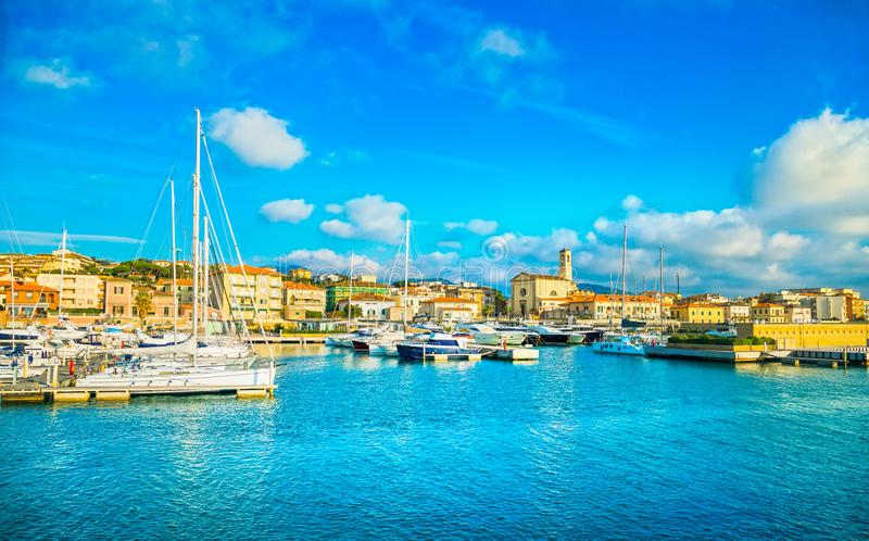 San Vincenzo port or marina and seafront panoramic view. Tuscany. San Vincenzo port or marina, church and seafront panoramic view. Tuscany, Italy Europa royalty free stock photo