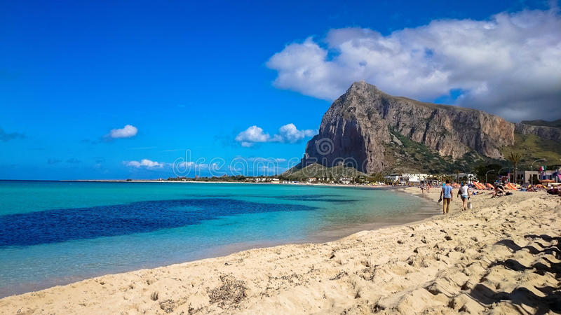 San Vito Lo Capo - Ansicht des Strandes stockfotografie