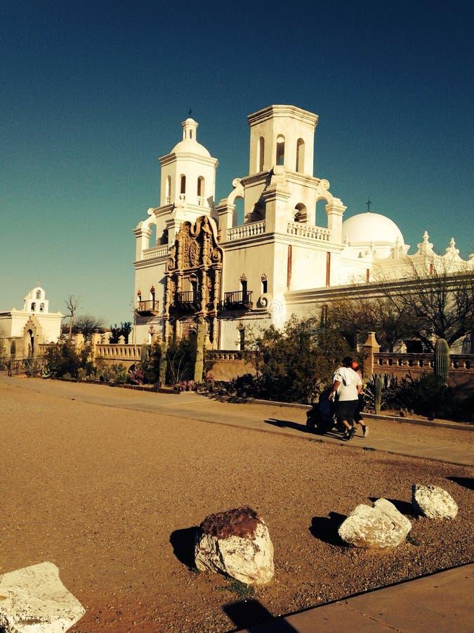 San Xavier Del Bac Biały gołąbka Pustynny misi sanktuarium obrazy stock
