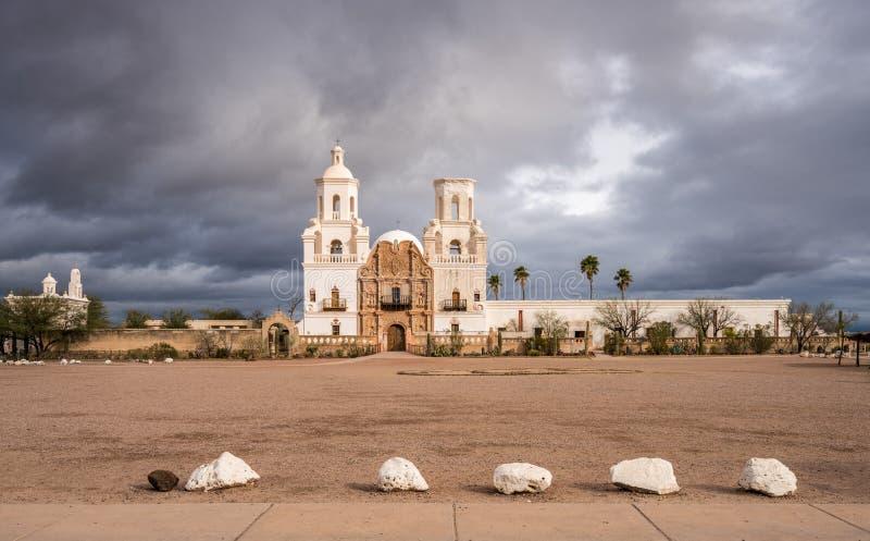 San Xavier del Bac Mission buiten Tucson Arizona royalty-vrije stock foto