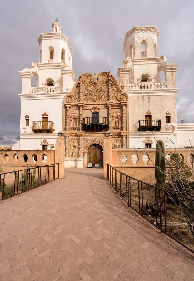 San Xavier del Bac Mission buiten Tucson Arizona stock afbeeldingen