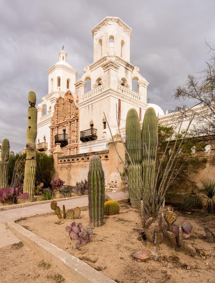 San Xavier del Bac Mission buiten Tucson Arizona royalty-vrije stock foto's