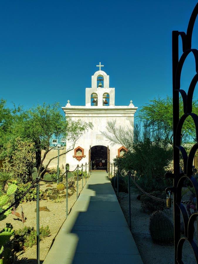 San Xavier del Bac Mission buiten Tucson, Arizona stock afbeeldingen