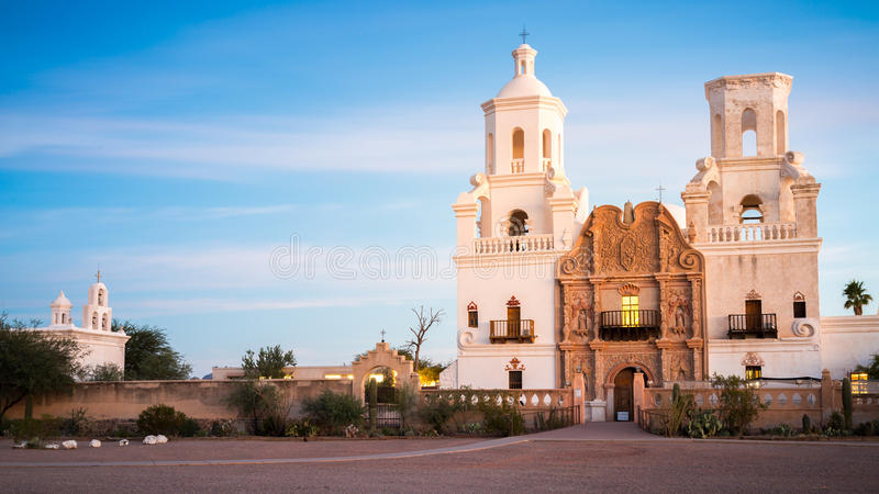 San Xavier Del Bac in Tucson Arizona royalty-vrije stock afbeeldingen