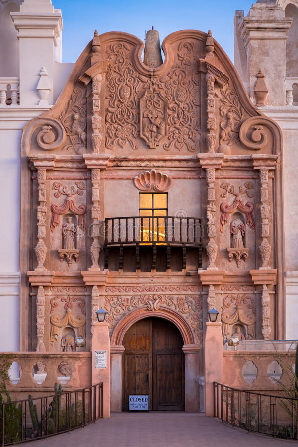 San Xavier Del Bac in Tucson Arizona stock afbeeldingen