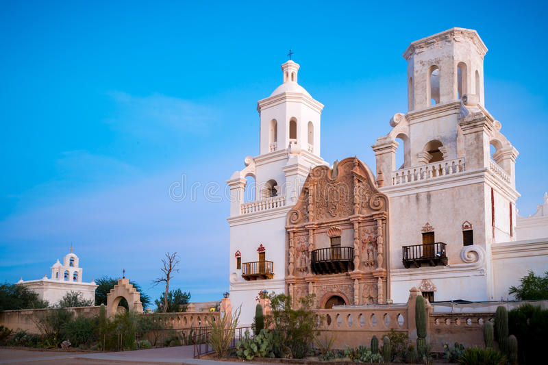 San Xavier Del Bac in Tucson Arizona royalty-vrije stock foto's