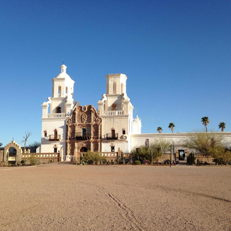 San Xavier Del Bac White Dove du sanctuaire de mission de désert photos stock