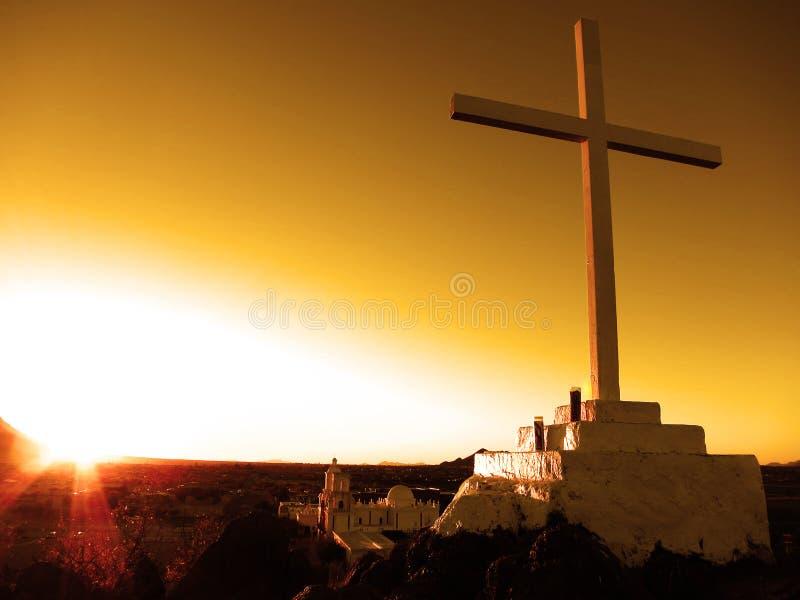 San Xavier Mission Christian Church Cross fotografia stock