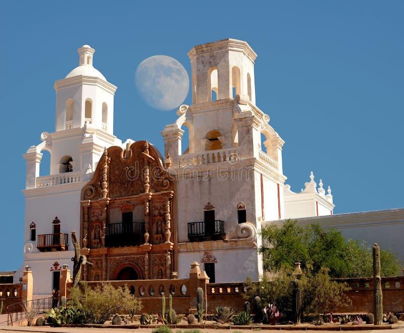San Xavier Mission Moon fotografia stock