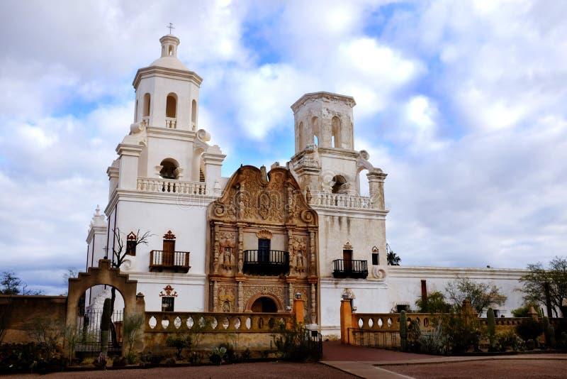 San Xavier Mission in Tucson Arizona Spaanse Religioius royalty-vrije stock foto's