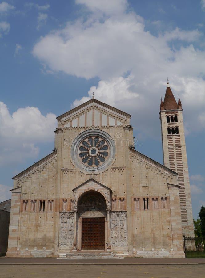 The San Zeno basilica in Verona in Italy stock images