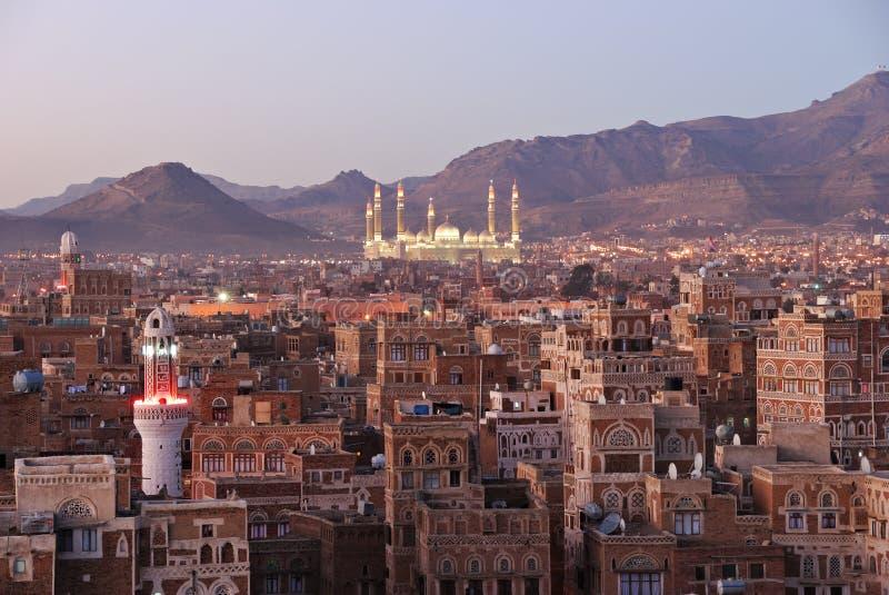 Sanaa. Opinião da manhã na cidade velha fotografia de stock royalty free