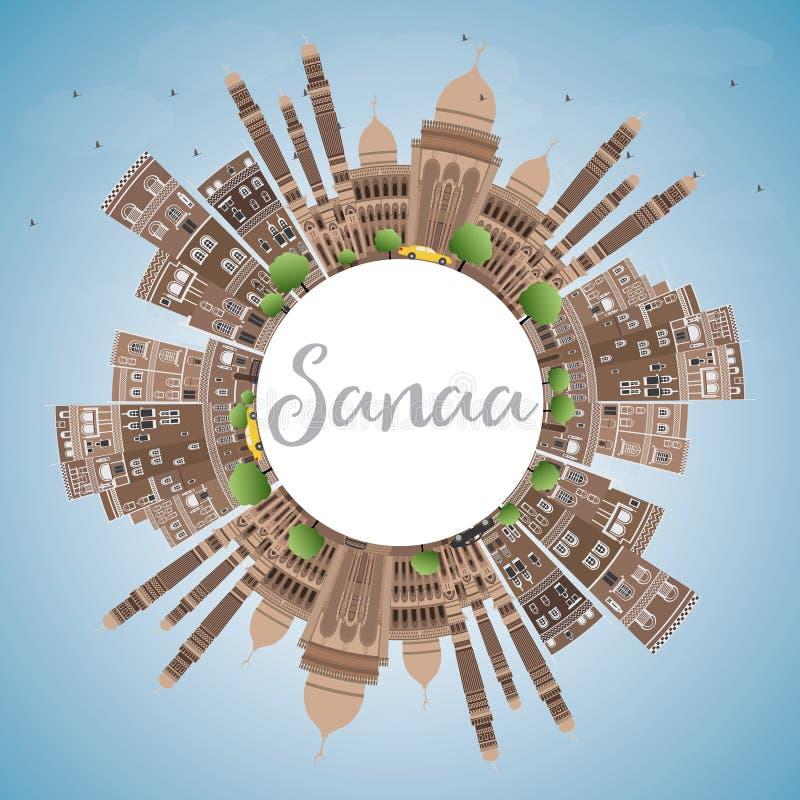 Sanaa (Yemen) Horizon met Bruine Gebouwen en Exemplaarruimte vector illustratie