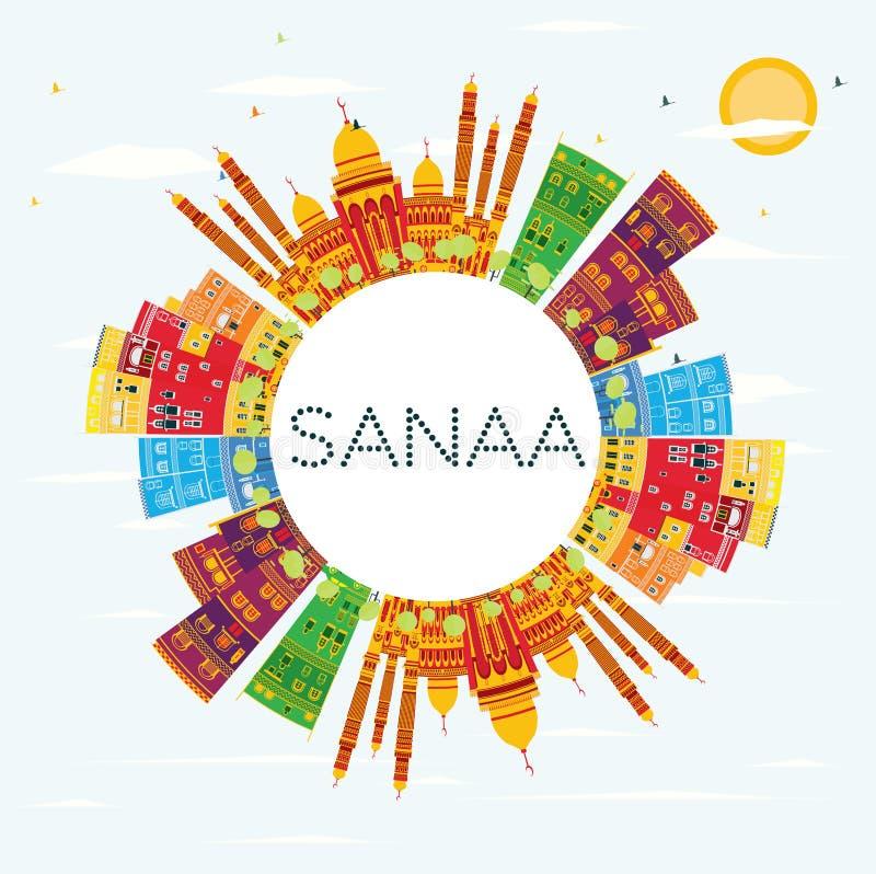 Sanaa Yemen Skyline met Kleurengebouwen, Blauw Hemel en Exemplaar SP vector illustratie