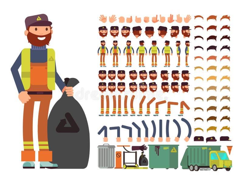 Sanacja pracownika mężczyzna wektorowy charakter Tworzenie konstruktor z setem części ciała i śmieciarskiej kolekci wyposażenie ilustracja wektor
