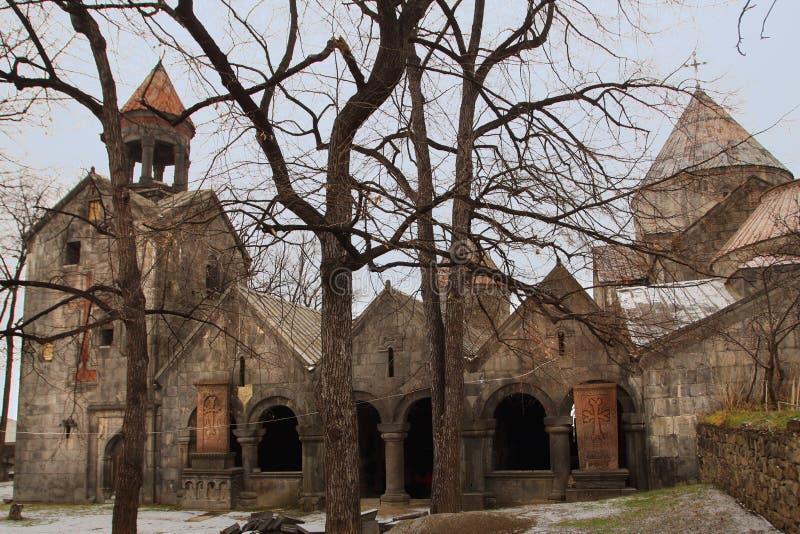 Sanahin修道院在冬天,亚美尼亚 免版税库存照片