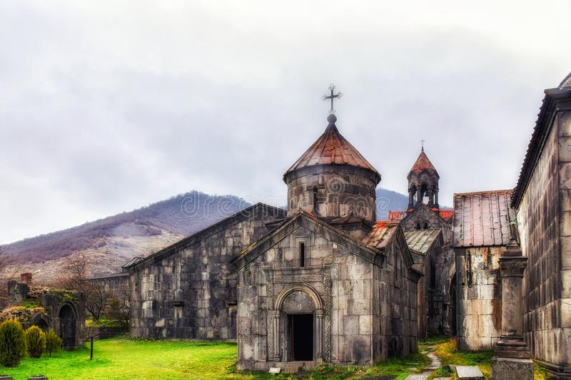 The historic Armenian monastery from the 10th century located in. Sanahin, Armenia, April 11, 2017: The historic Armenian monastery from the 10th century located royalty free stock images