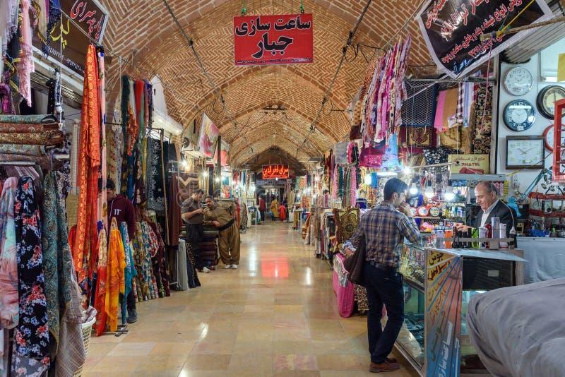 Iranian people walk on Bazaar in Sanandaj. Kurdistan Province. Iran stock photo