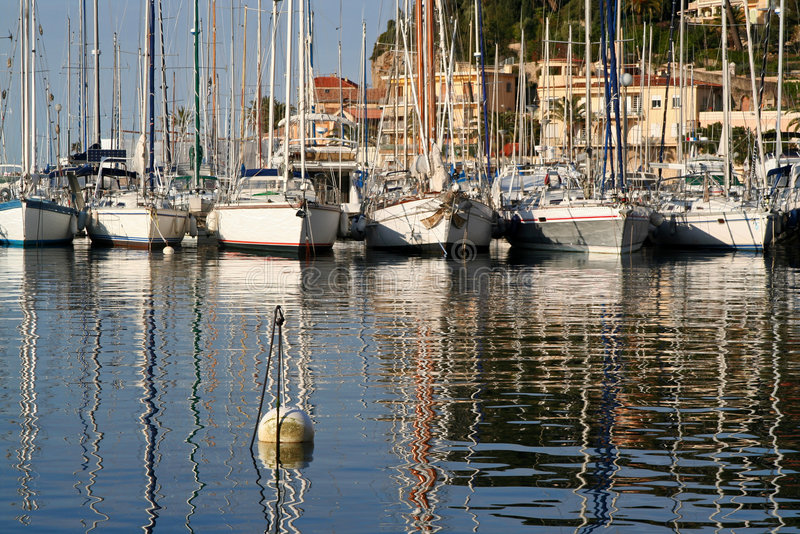 Sanary harbour stock images