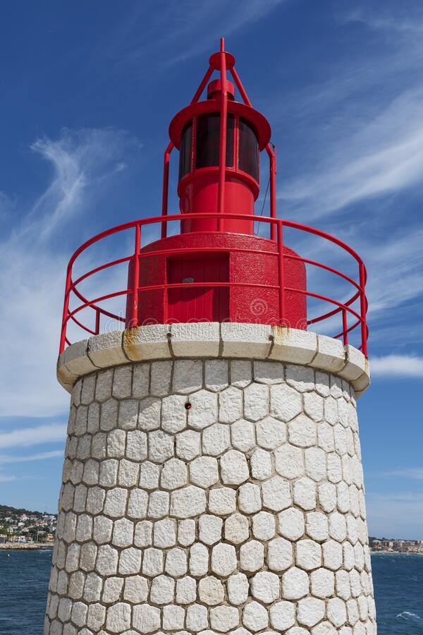 Sanary red lighthouse royalty free stock photography