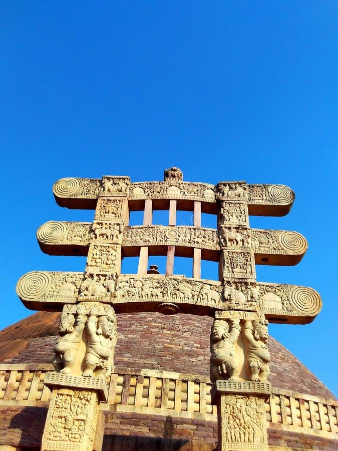 sanchi印度,佛教纪念碑世界遗产伟大的stupa  免版税库存照片