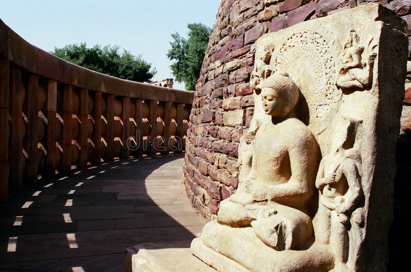 Sanchi, India. Buddha sculpture near the Great Stupa from Sanchi, Madhya Pradesh, India