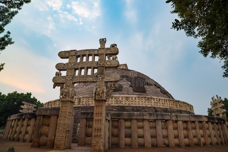 Sanchi Stupa, Ancient buddhist building, religion mystery, carved stone. Travel destination in Madhya Pradesh, India. royalty free stock photography