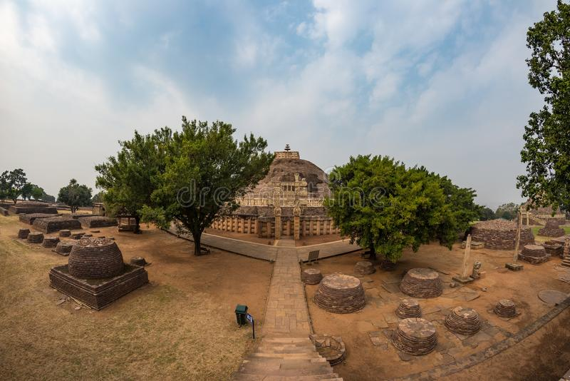 Sanchi Stupa, Ancient buddhist building, religion mystery, carved stone. Travel destination in Madhya Pradesh, India. Sanchi Stupa, Ancient buddhist building stock photography