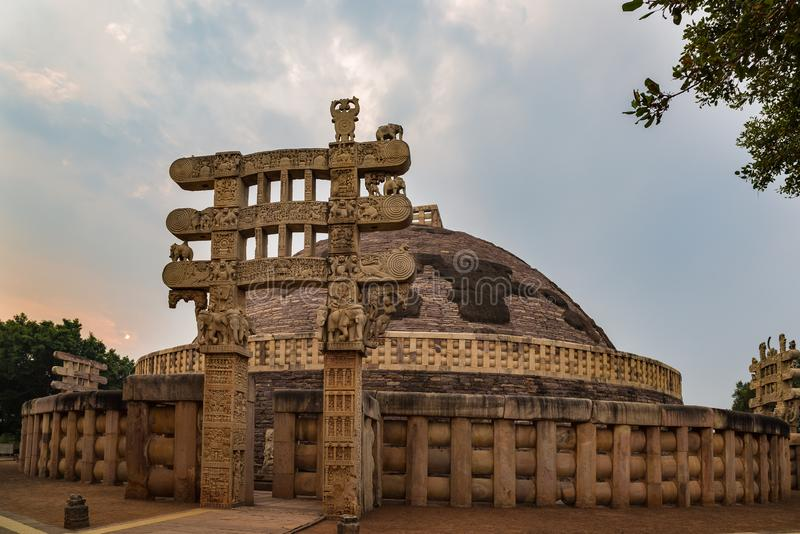 Sanchi Stupa, Ancient buddhist building, religion mystery, carved stone. Travel destination in Madhya Pradesh, India. Sanchi Stupa, Ancient buddhist building royalty free stock images